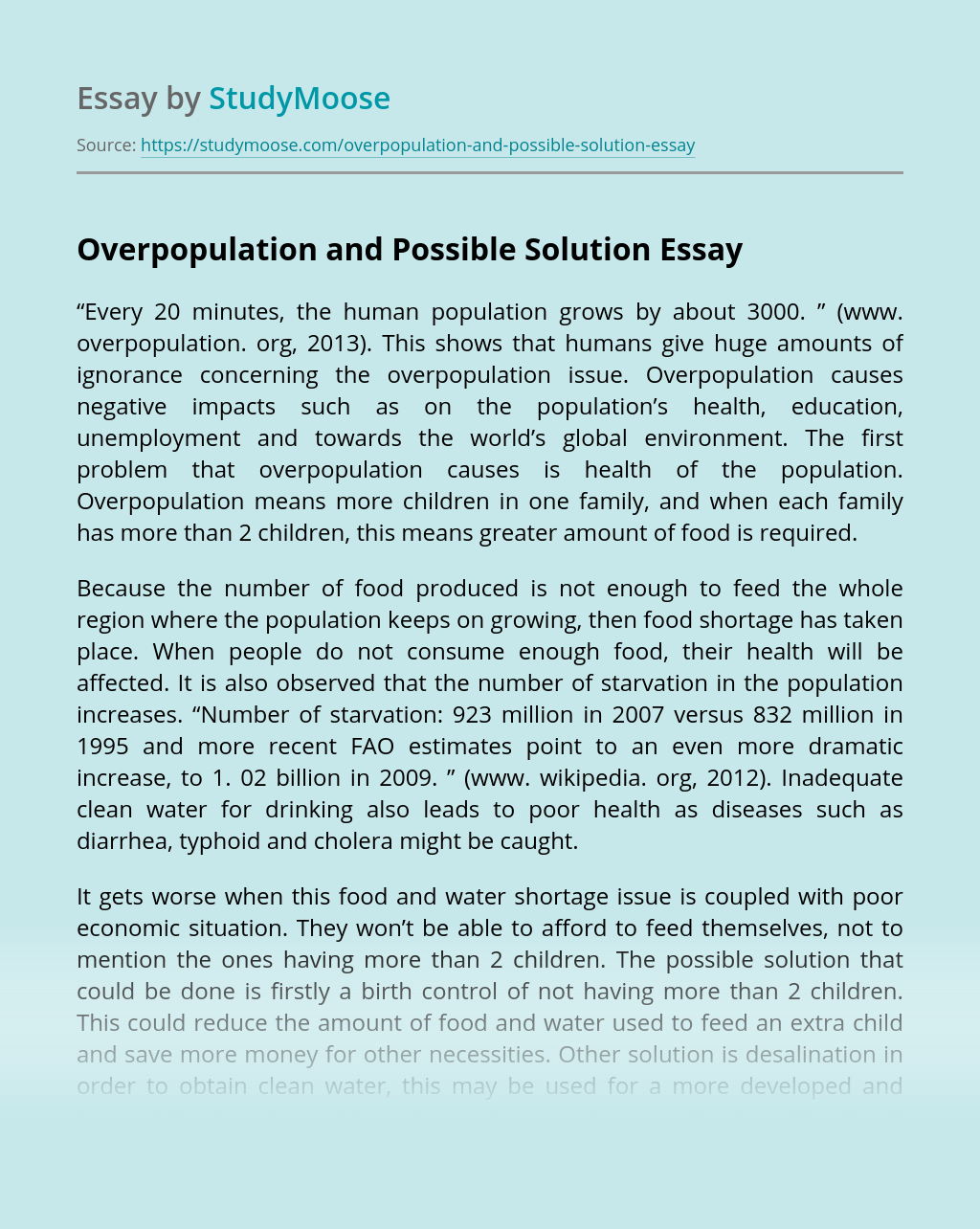 Overpopulation and Possible Solution