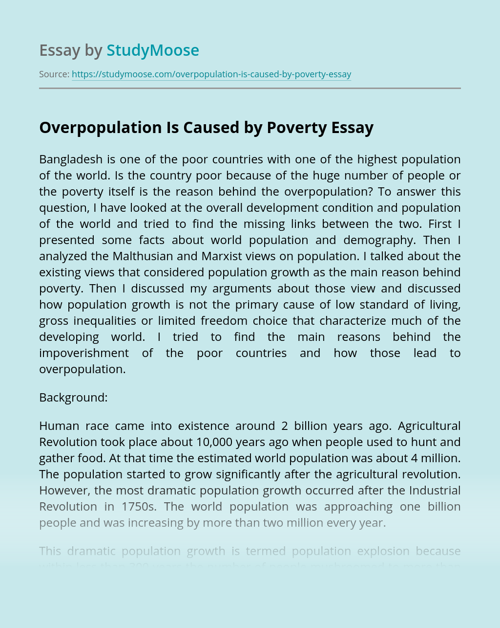 Overpopulation Is Caused by Poverty