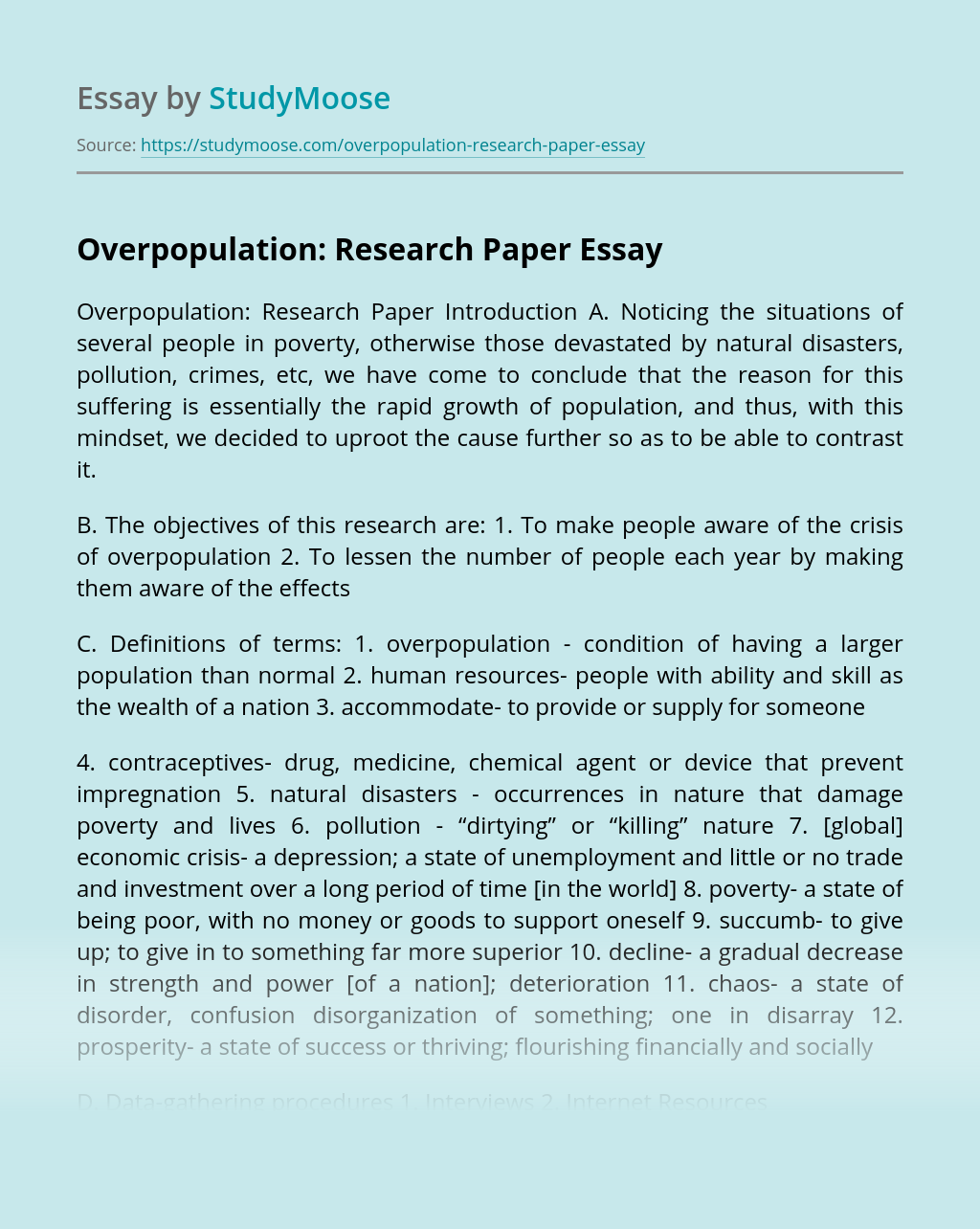Overpopulation: Research Paper