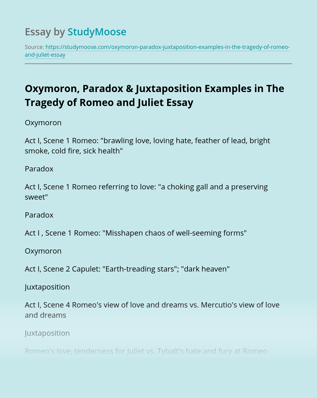 Oxymoron, Paradox & Juxtaposition Examples in The Tragedy of Romeo and Juliet