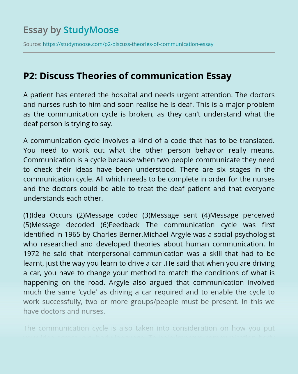 P2: Discuss Theories of communication