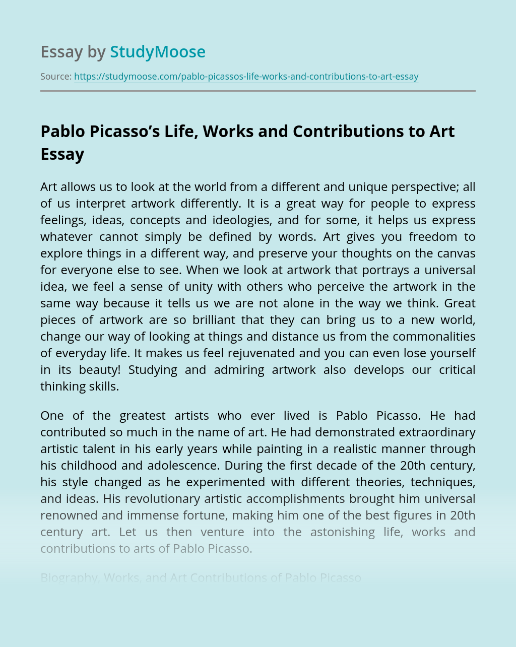 Pablo Picasso's Life, Works and Contributions to Art