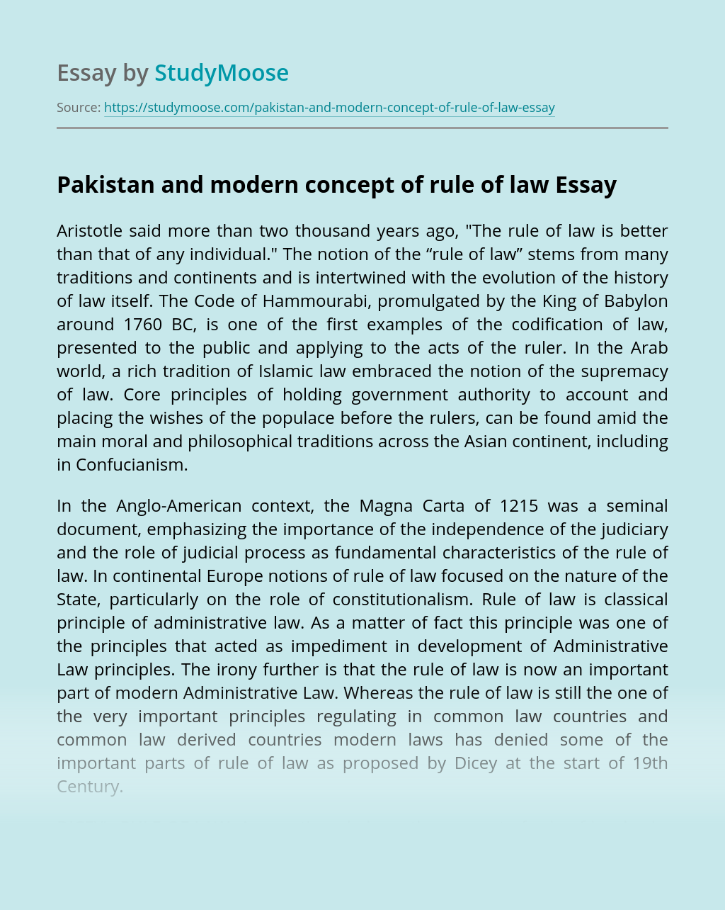 Pakistan and modern concept of rule of law