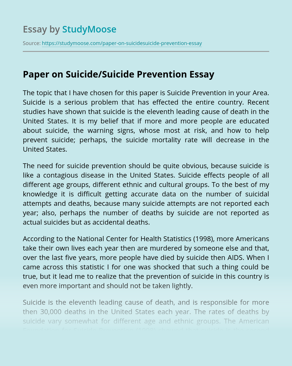 Paper on Suicide/Suicide Prevention