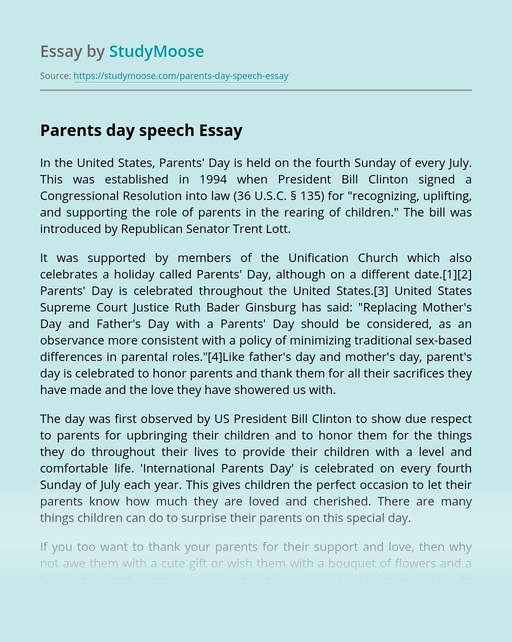 Parents day speech