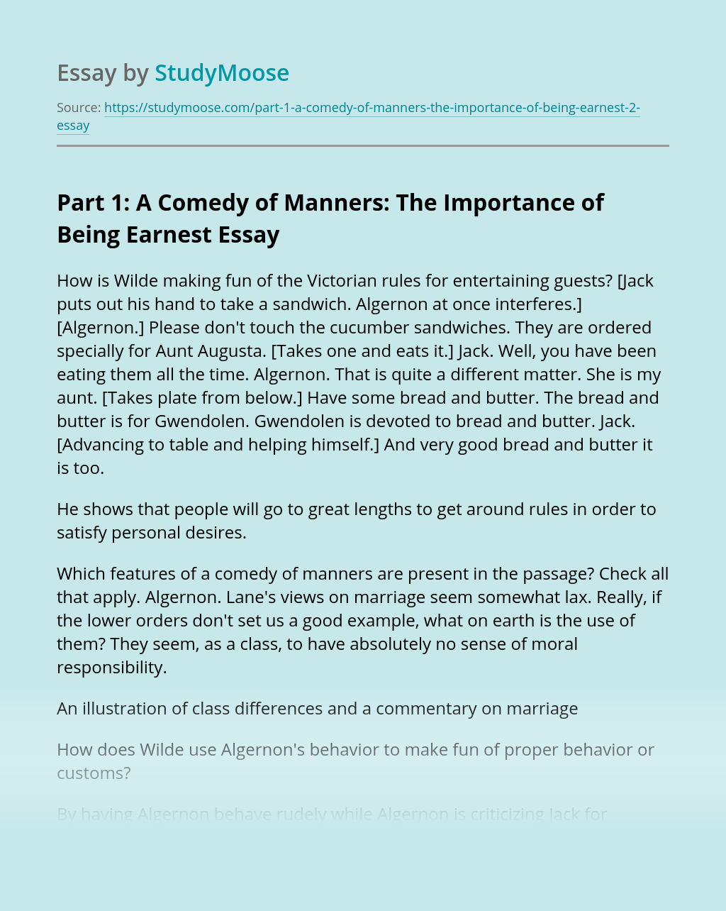 Part 1: A Comedy of Manners: The Importance of Being Earnest