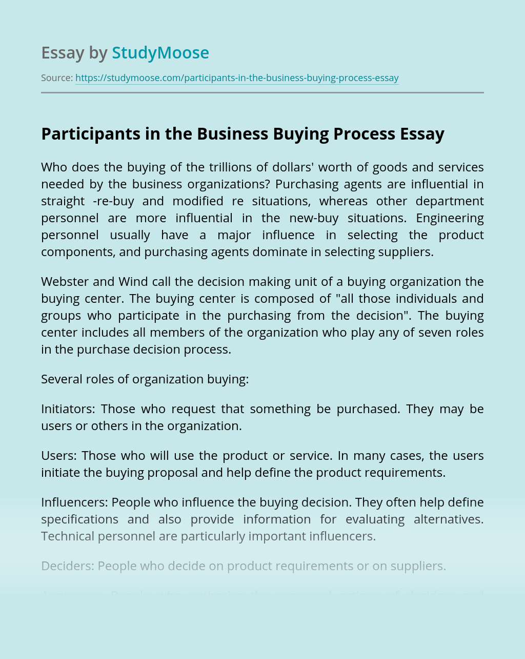 Participants in the Business Buying Process