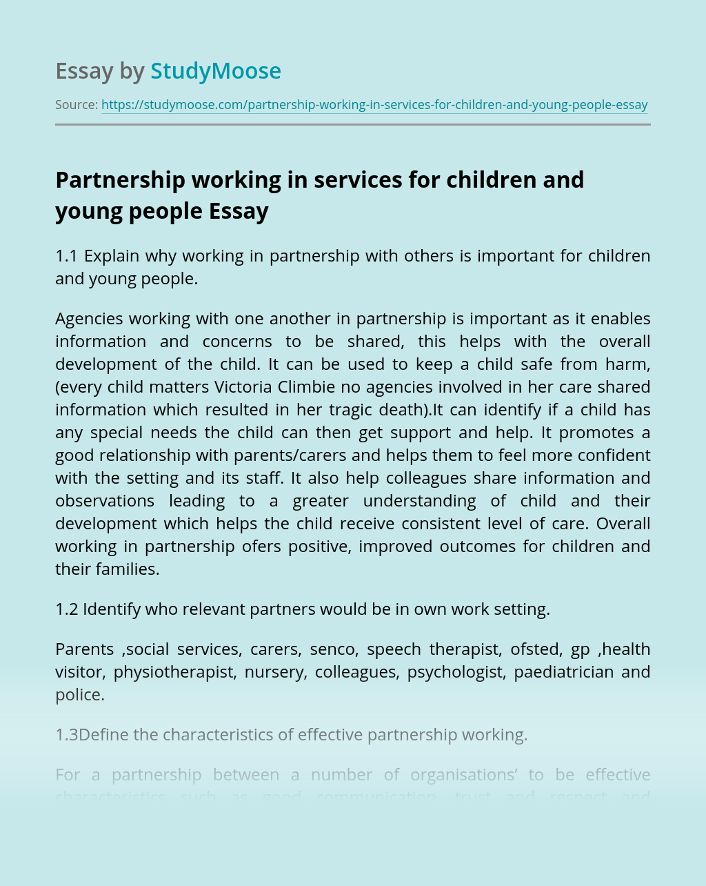 Partnership working in services for children and young people