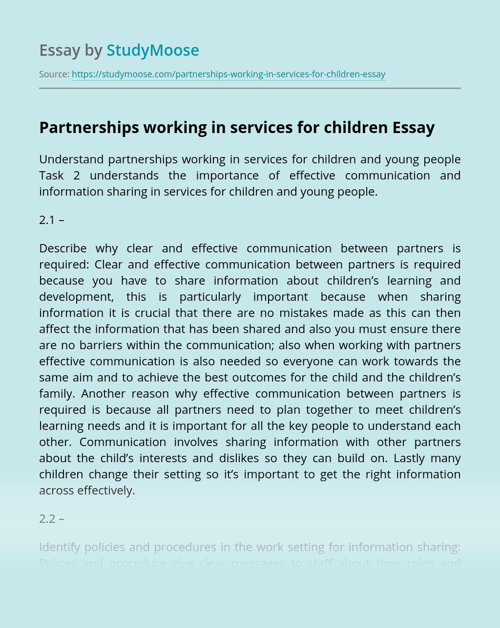 Partnerships working in services for children