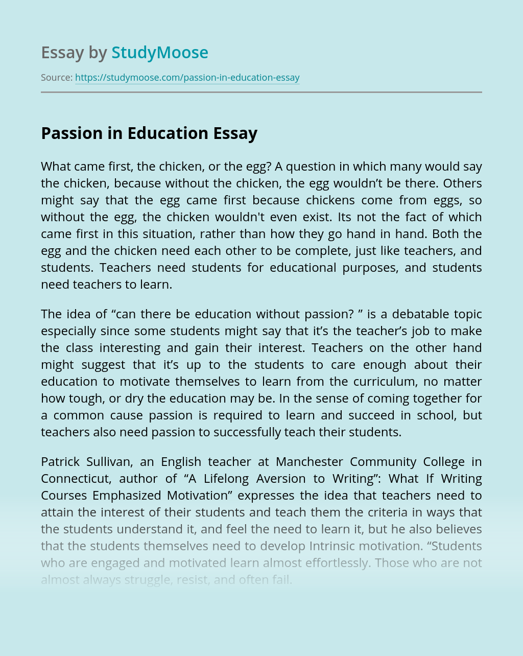 Passion in Education
