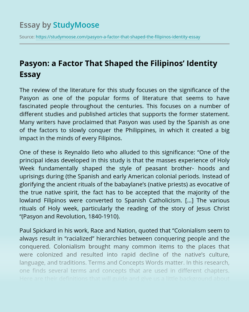 Pasyon: a Factor That Shaped the Filipinos' Identity