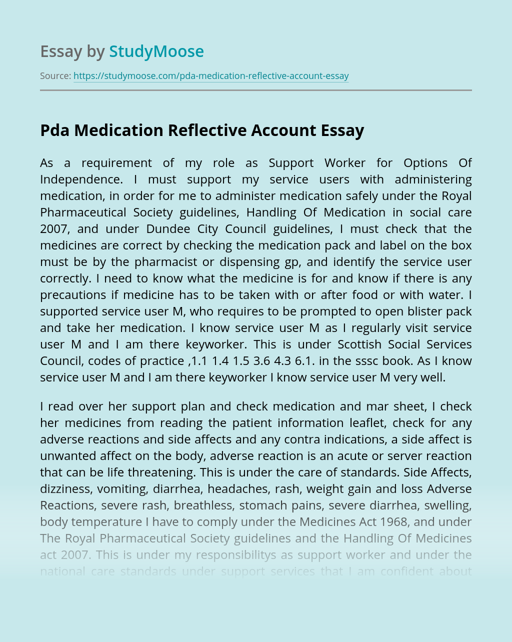 Pda Medication Reflective Account