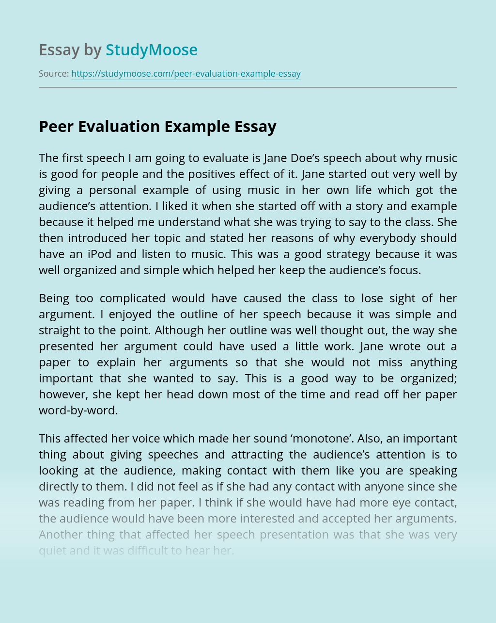 Peer Evaluation Example