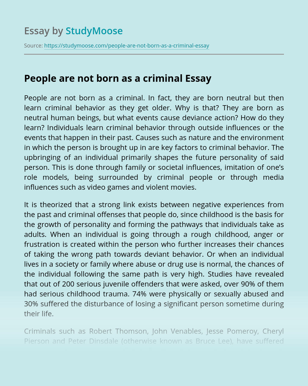 People are not born as a criminal