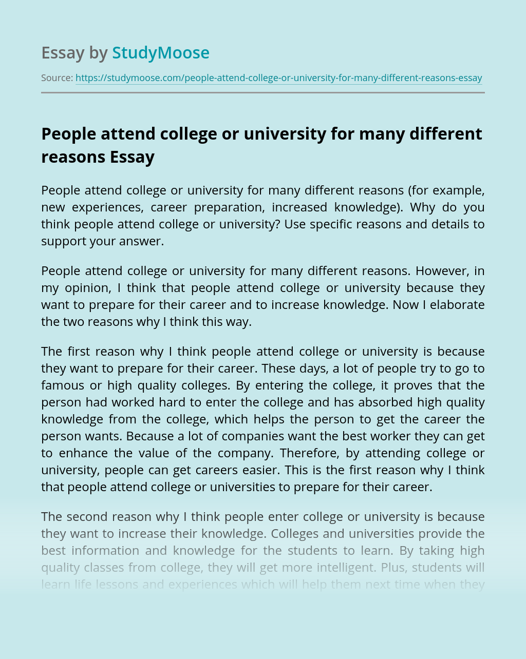 Attend college essay i want why sample cover letter for hr executive resume