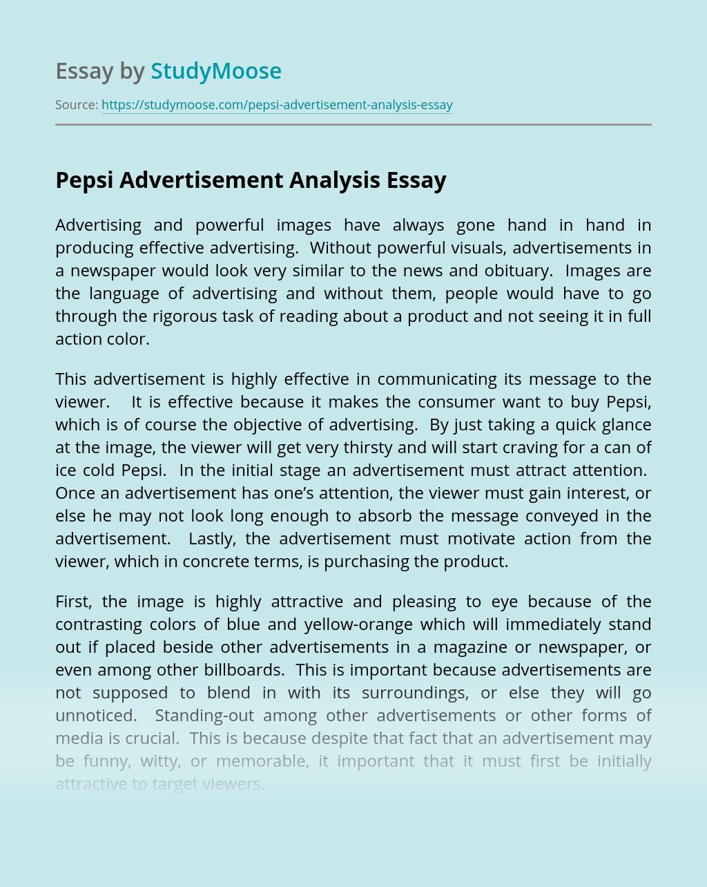 Pepsi Advertisement Analysis