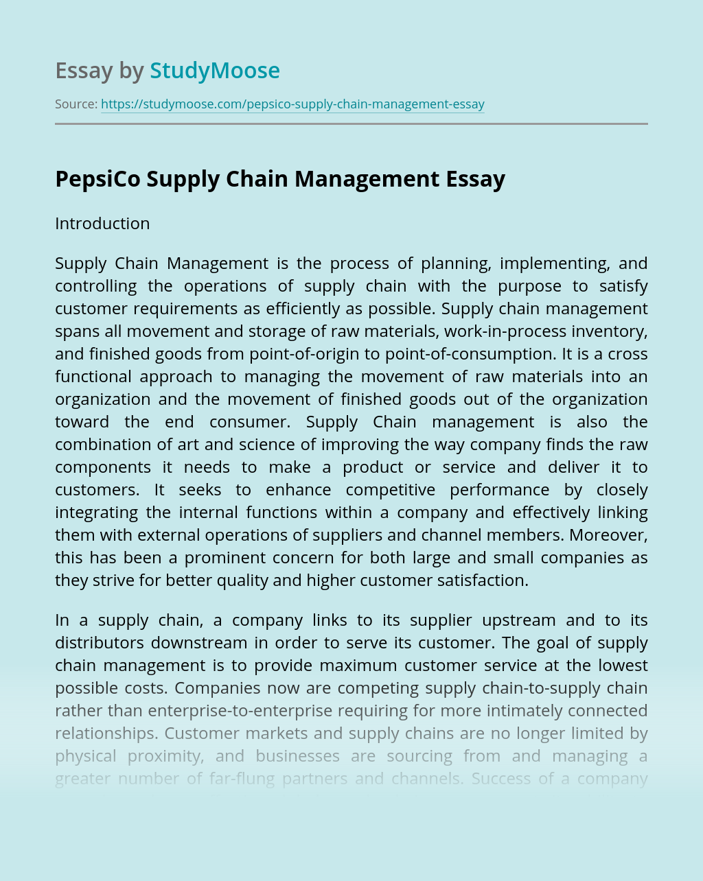 PepsiCo Supply Chain Management