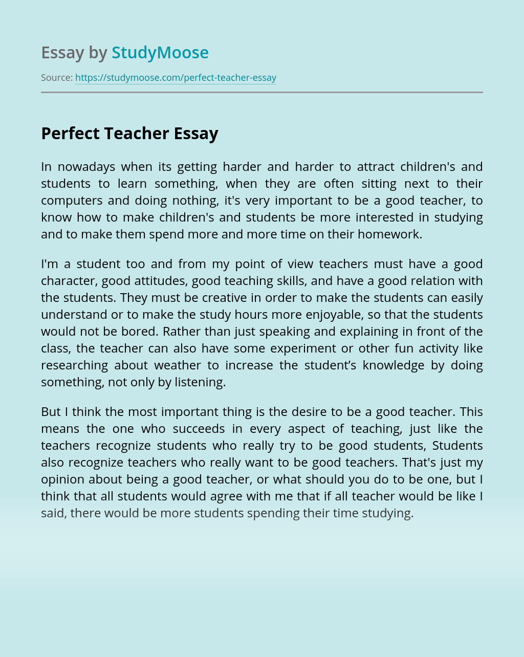 Perfect Teacher