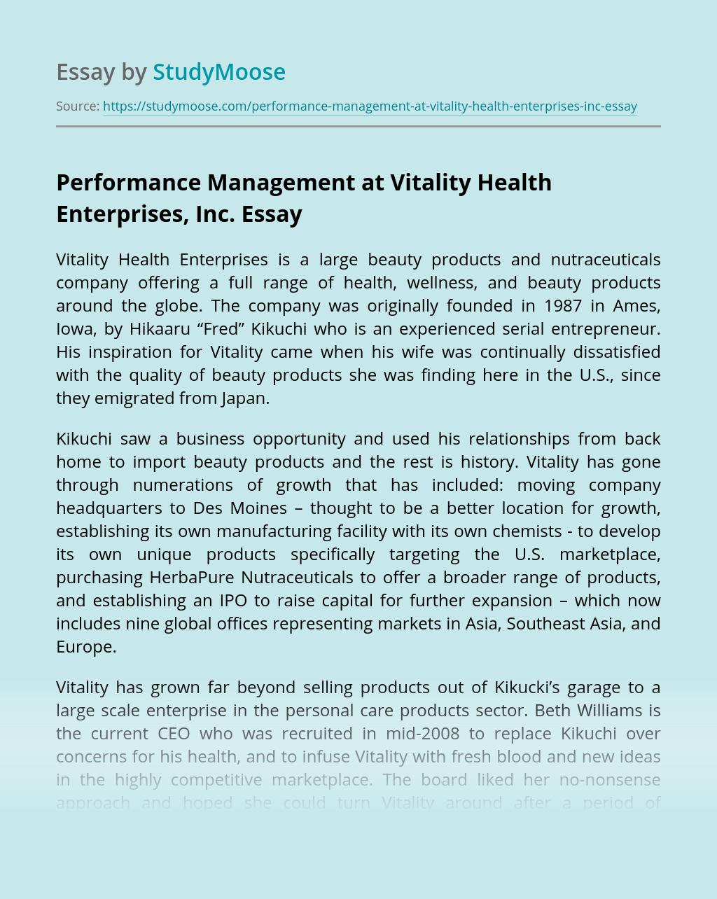 Performance Management at Vitality Health Enterprises, Inc.