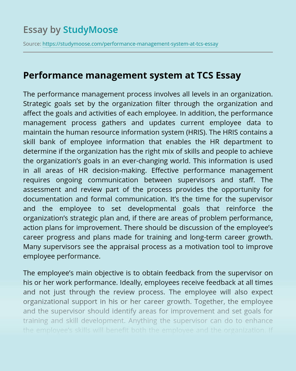 Performance management system at TCS