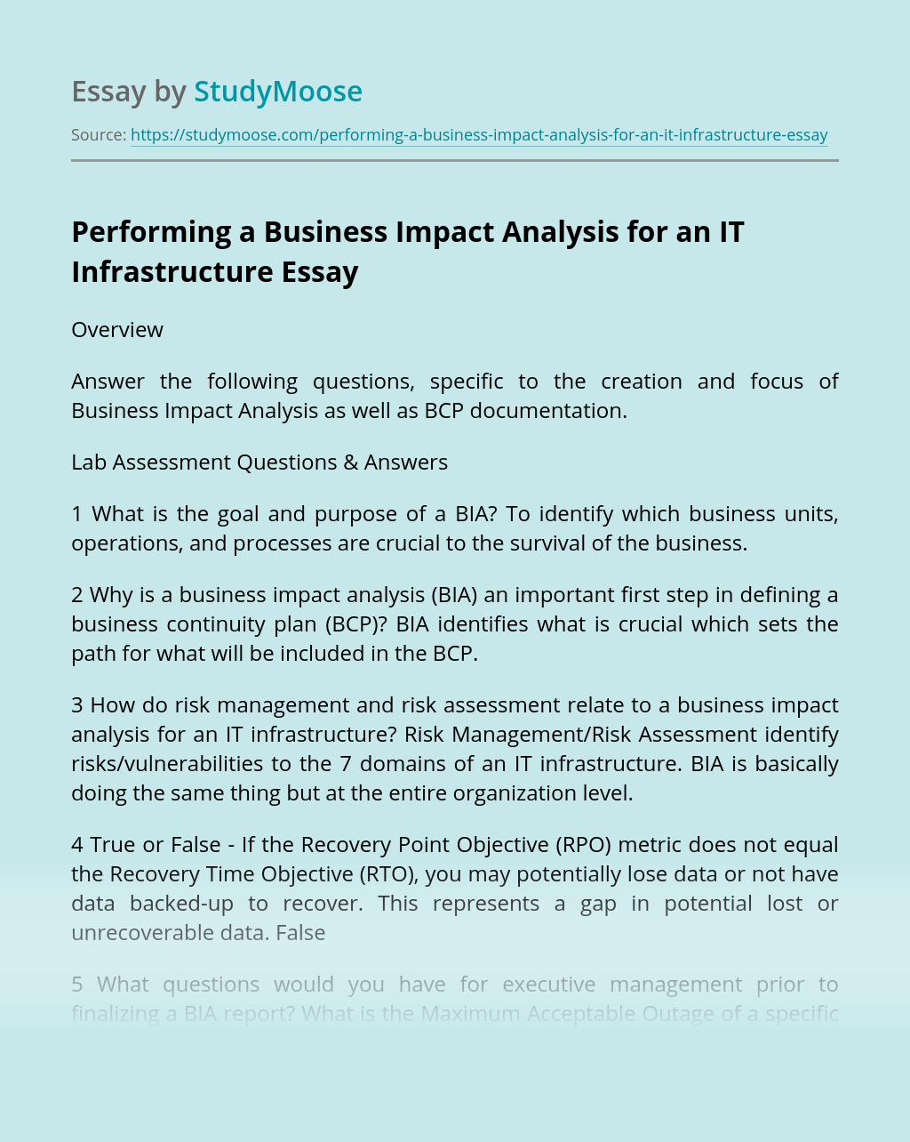 Performing a Business Impact Analysis for an IT Infrastructure