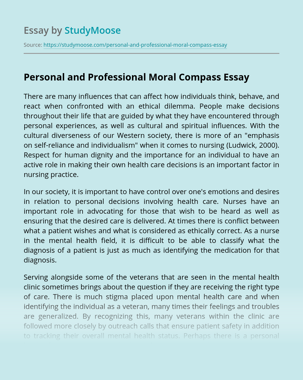 Personal and Professional Moral Compass