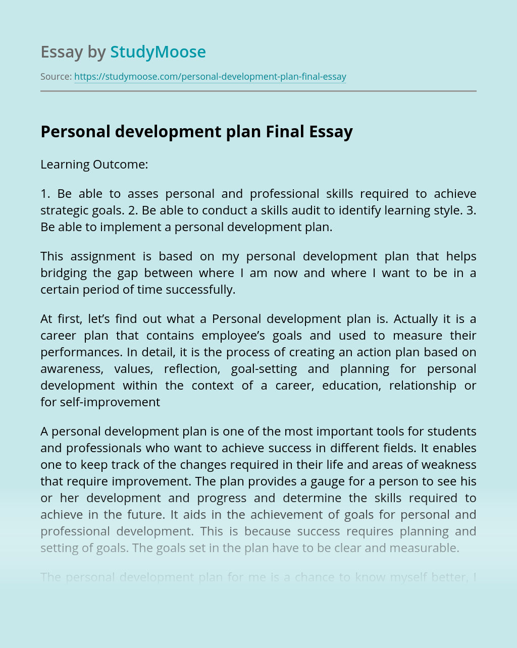Personal Development Plan Final Free Essay Example
