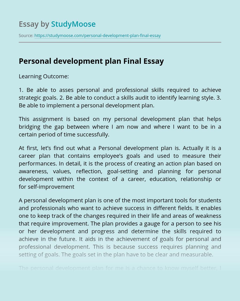 Personal development plan Final