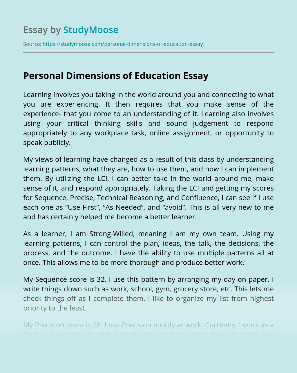 Personal Dimensions of Education