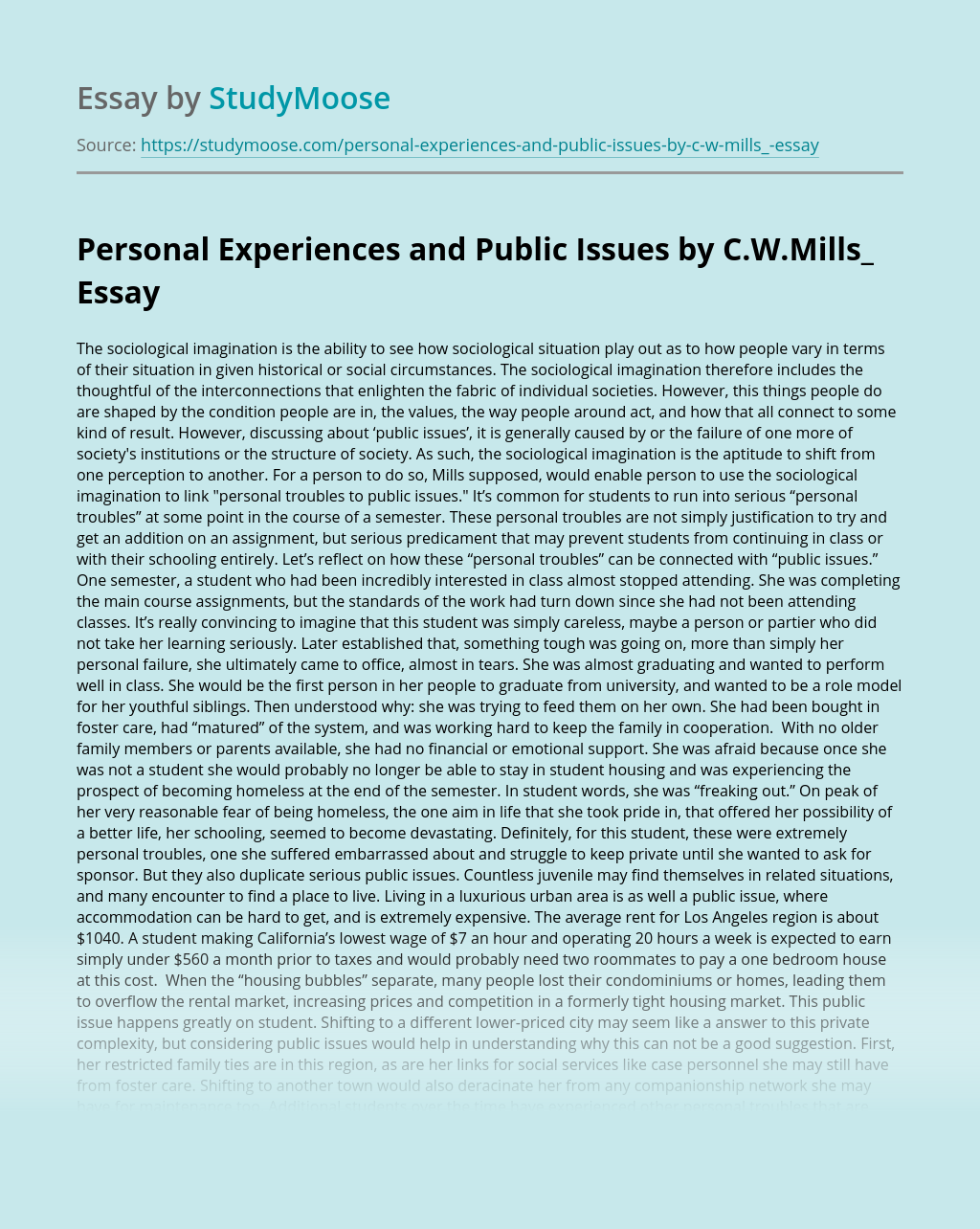 Personal Experiences and Public Issues by C.W.Mills_