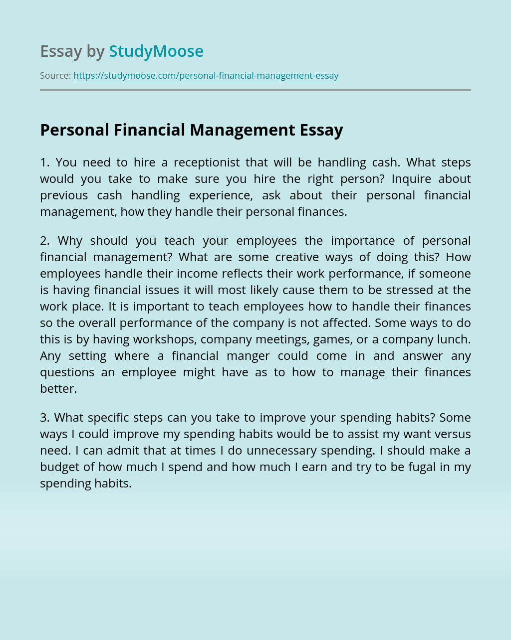 Personal Financial Management