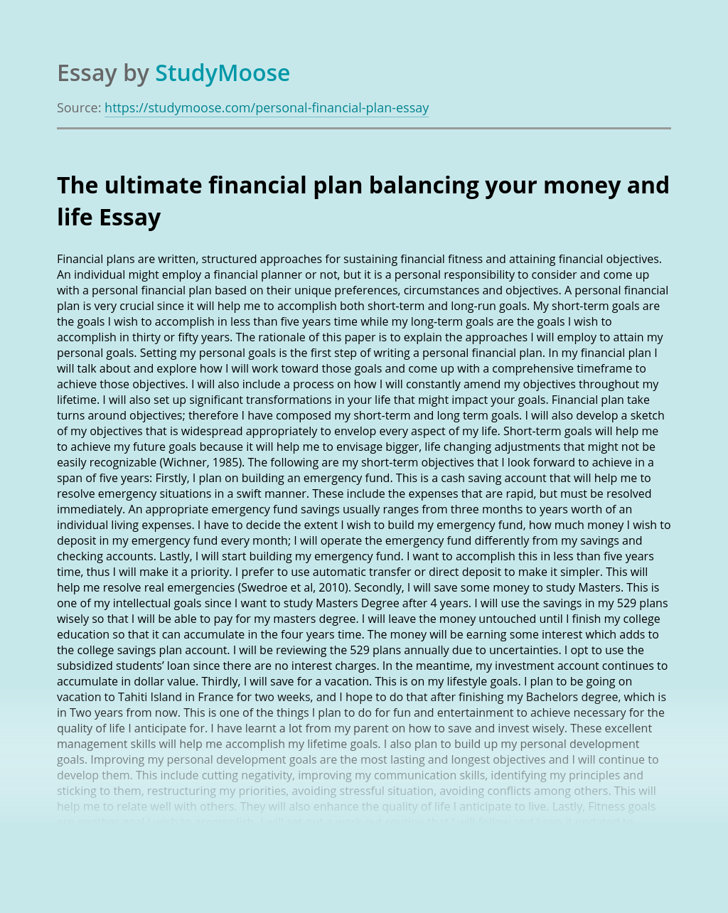 The ultimate financial plan balancing your money and life