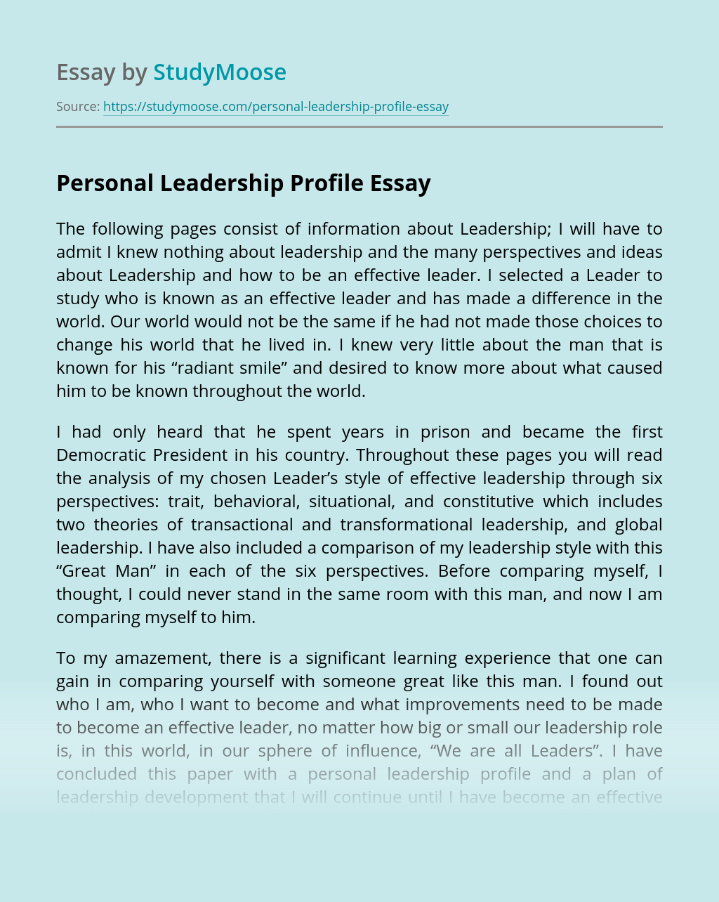 Personal Leadership Profile