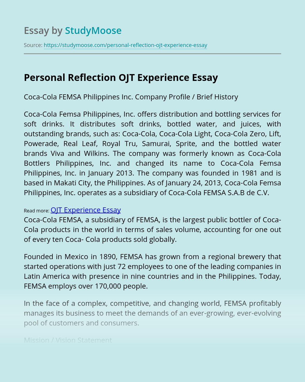 Personal Reflection OJT Experience