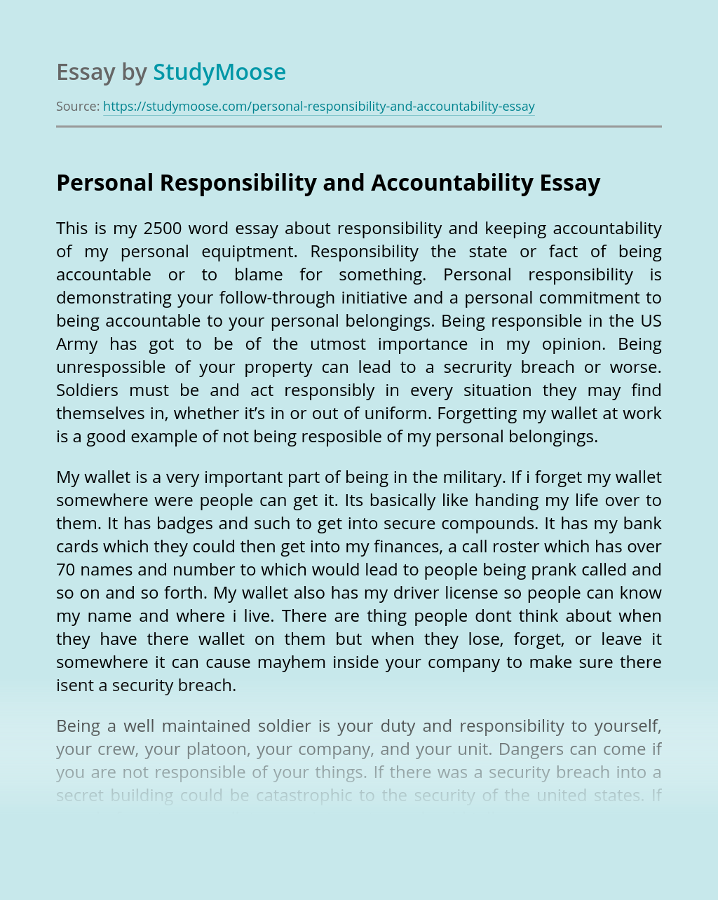 Personal Responsibility and Accountability