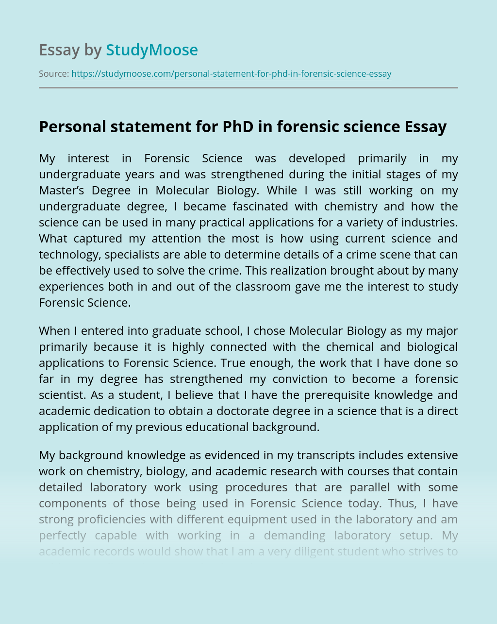 Personal statement for PhD in forensic science