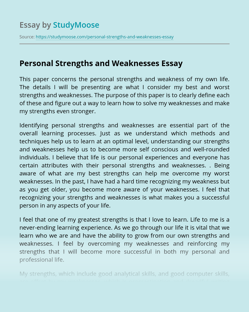 Personal Strengths and Weaknesses