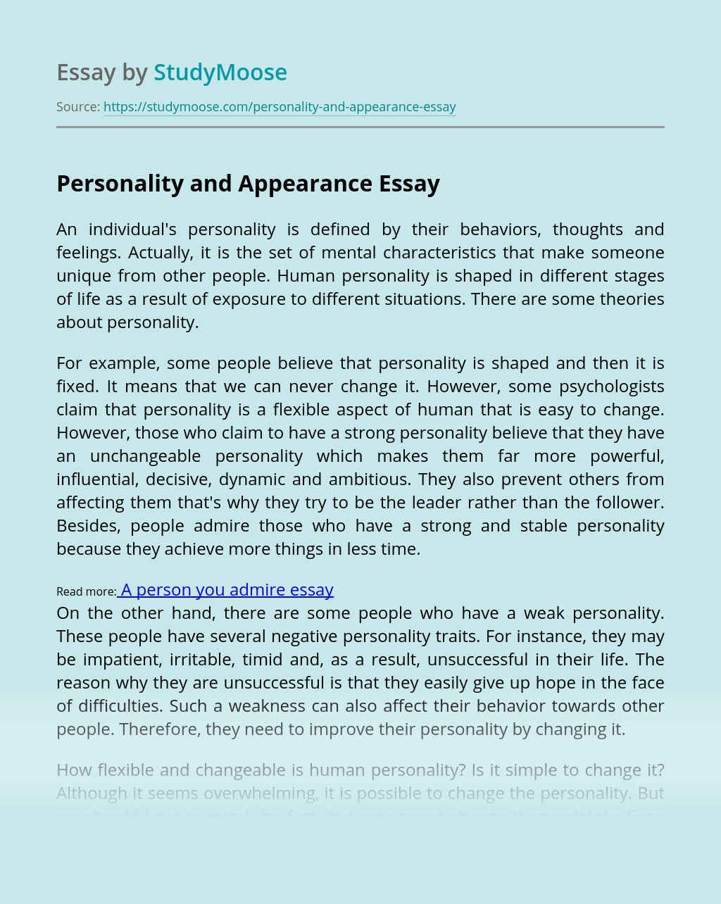 Personality and Appearance