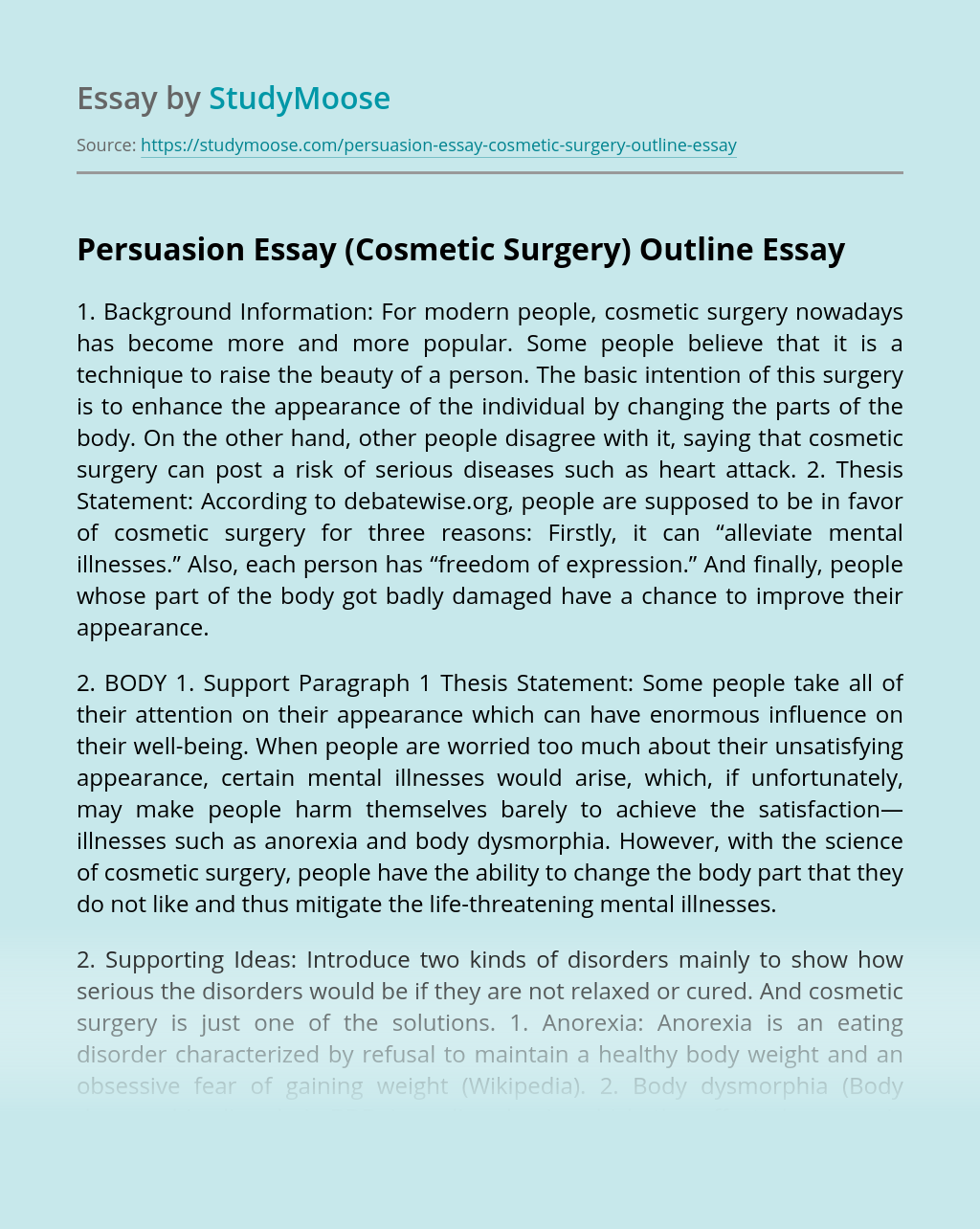 Persuasion Essay (Cosmetic Surgery) Outline