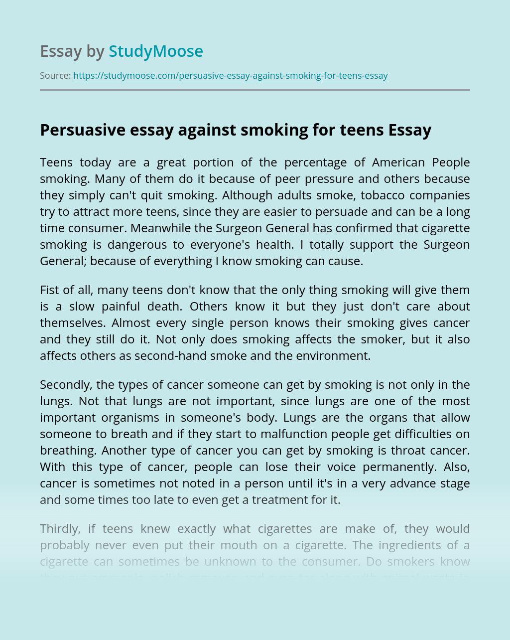 Persuasive essay against smoking for teens