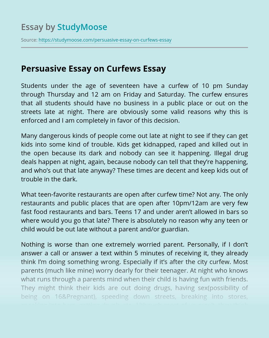Curfew essay speak book report