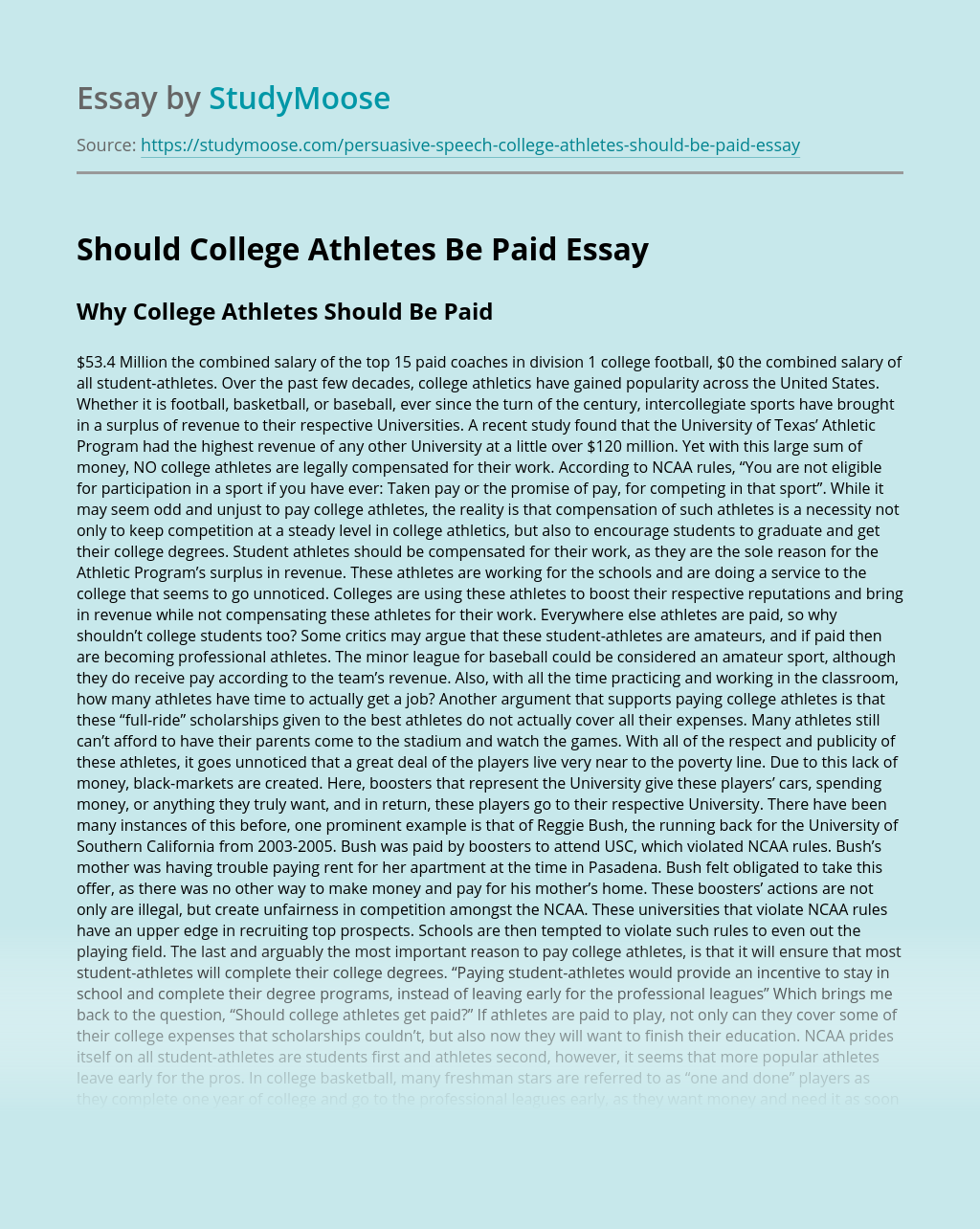 Argumentative Essay Should College Athletes Be Paid
