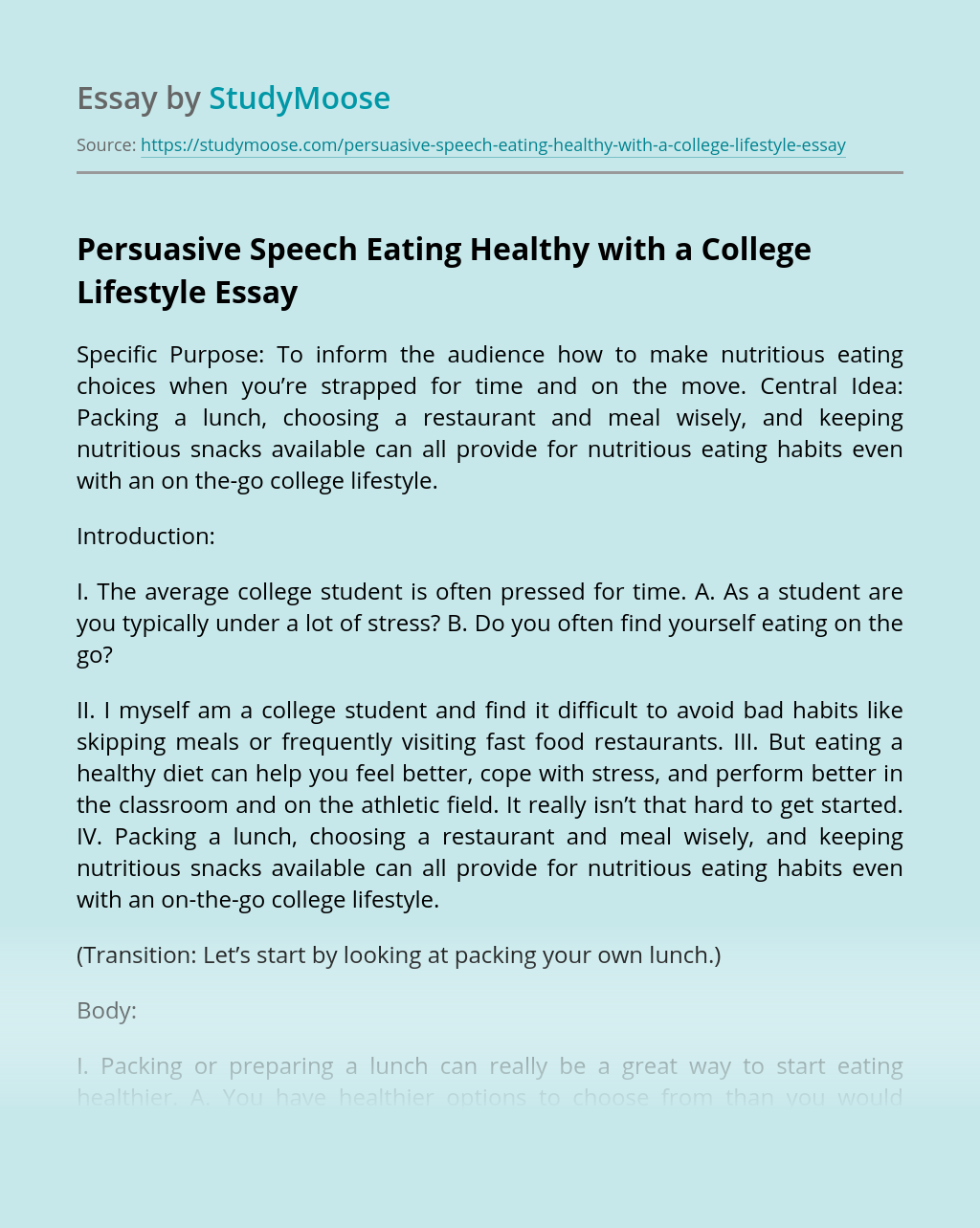 Persuasive Speech Eating Healthy with a College Lifestyle