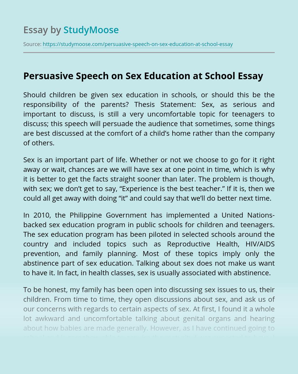 Persuasive Speech on Sex Education at School