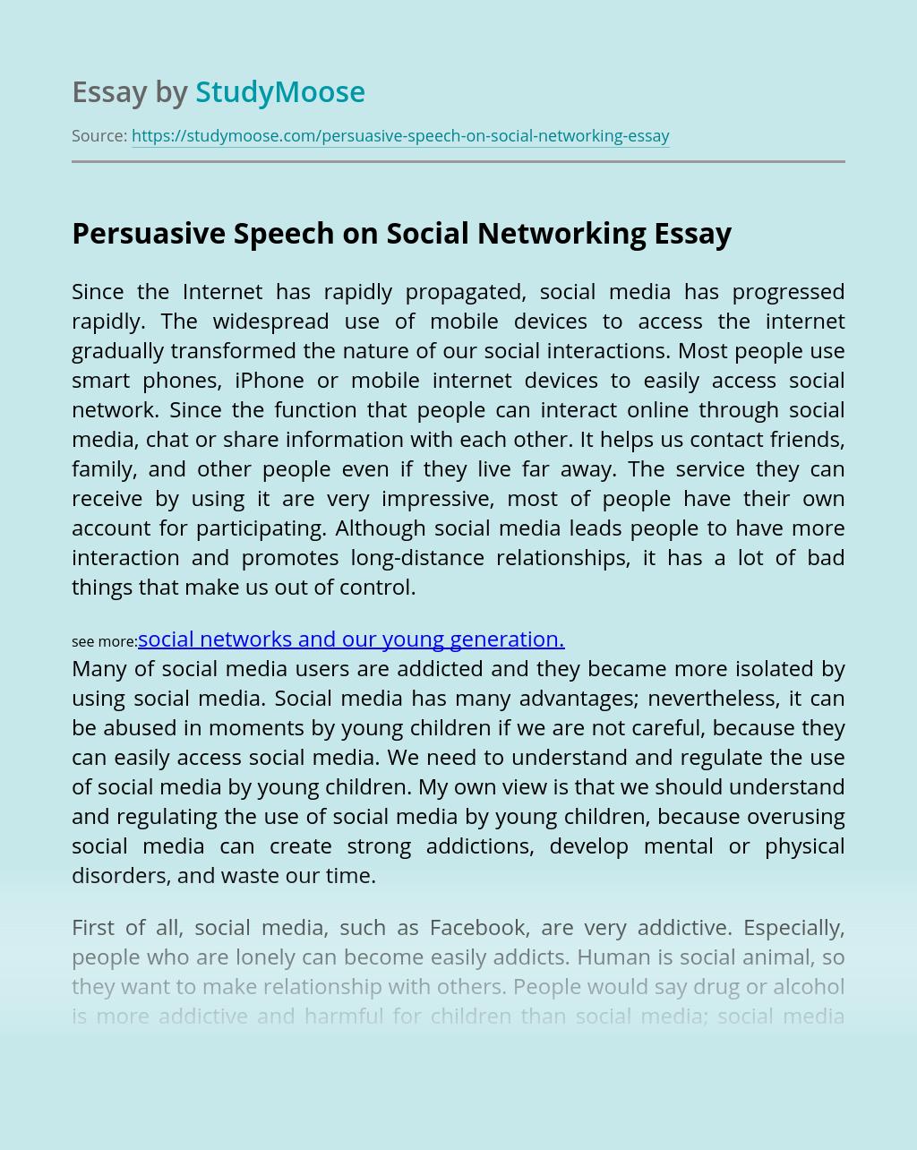 Persuasive Speech on Social Networking