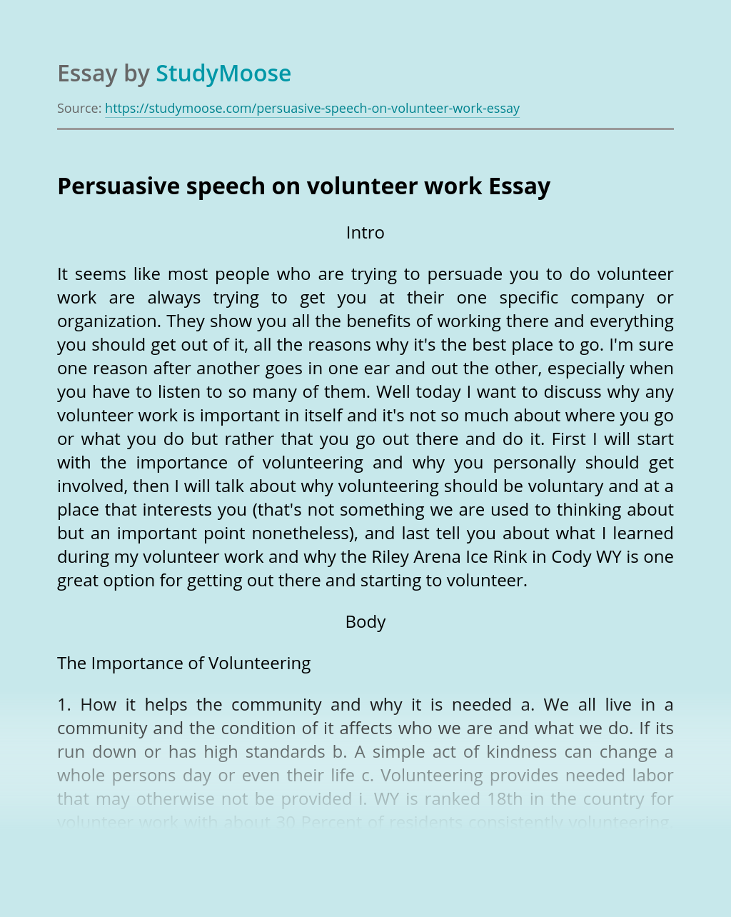 Persuasive speech on volunteer work