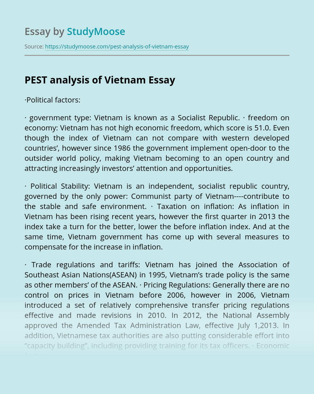 PEST Analysis of Vietnam