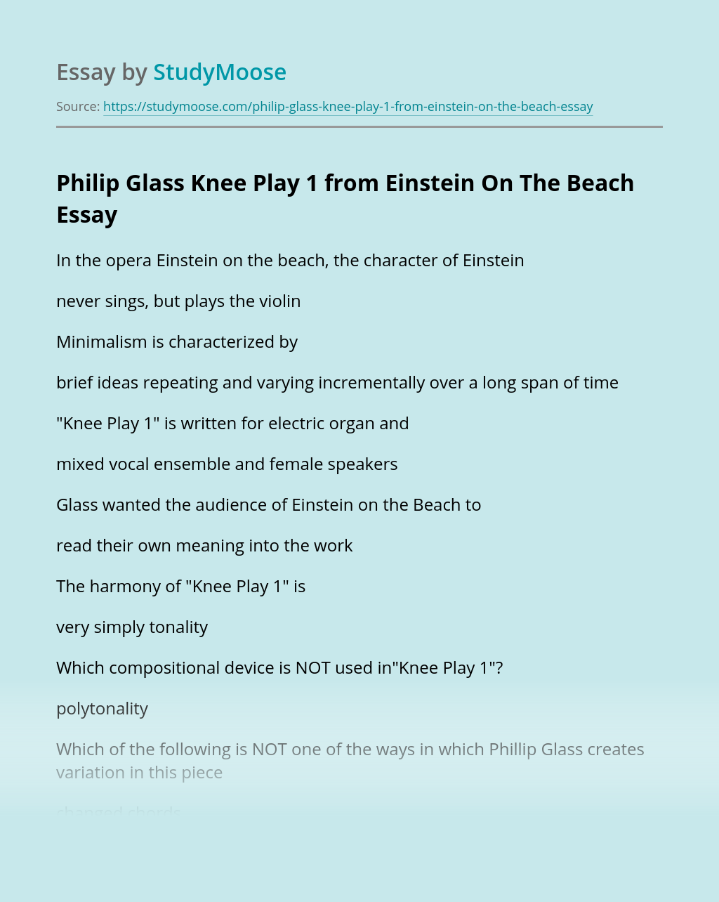 Philip Glass Knee Play 1 from Einstein On The Beach