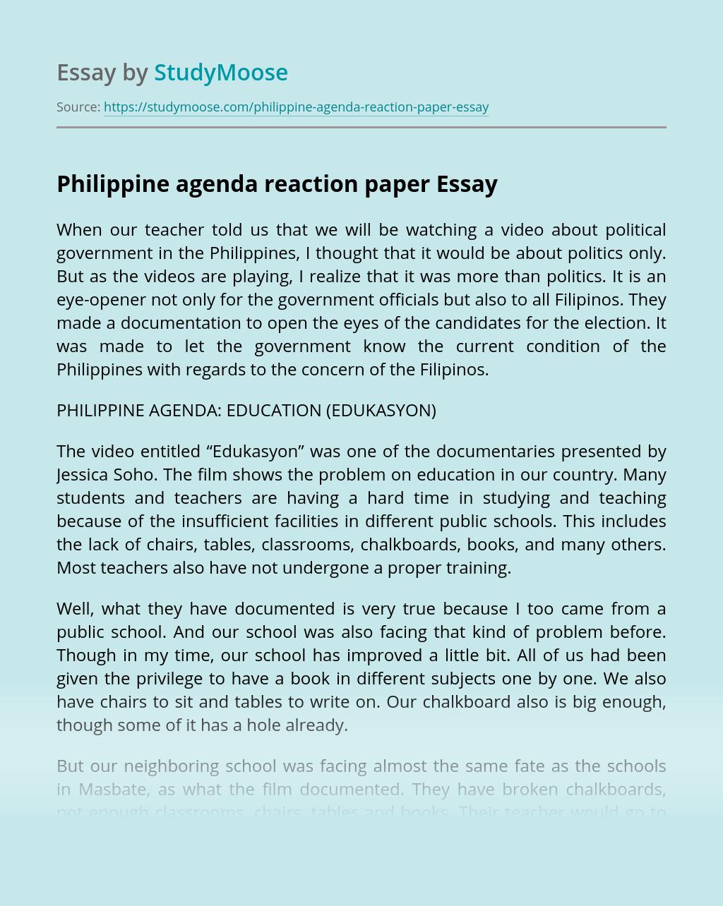 Philippine agenda reaction paper