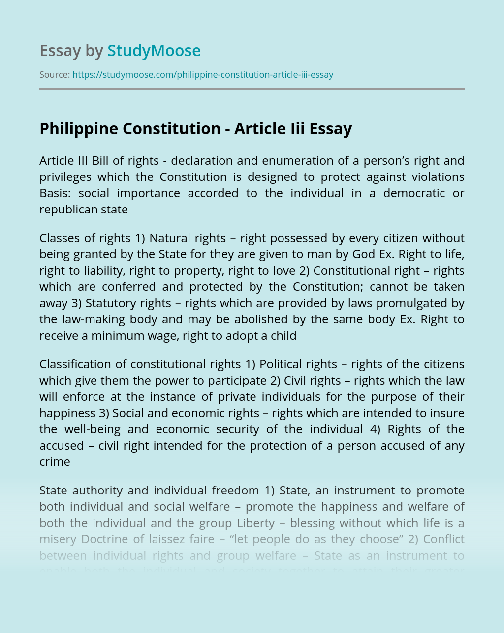 Philippine Constitution - Article Iii